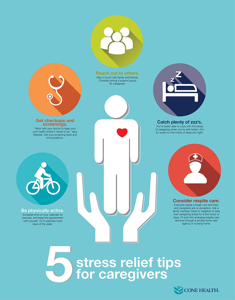 5 Stress Relief Tips for Caregivers Infographic