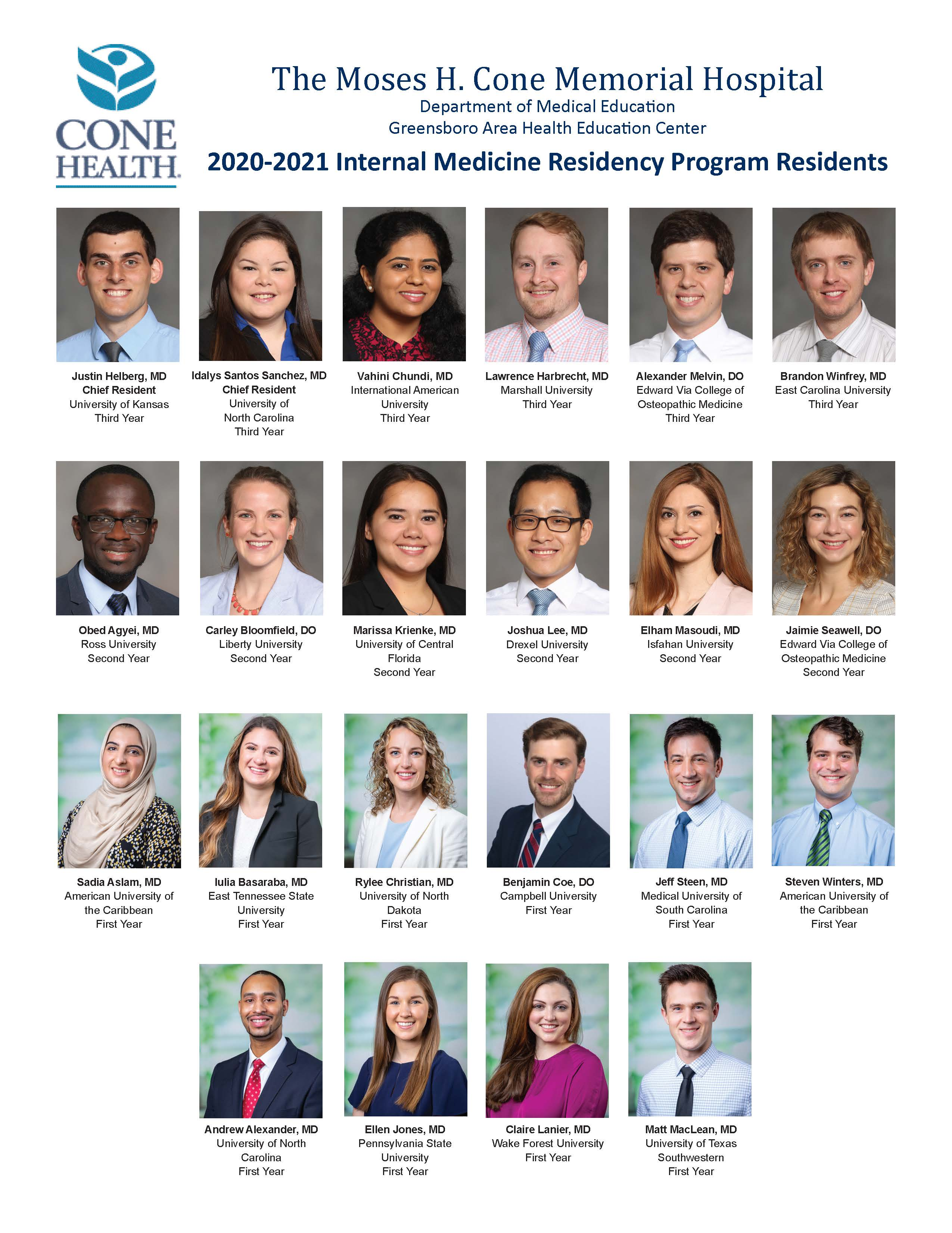 2017-2018 Internal Medicine Residents
