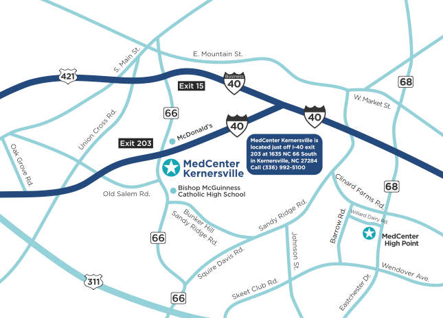 MedCenter Kernersville Map