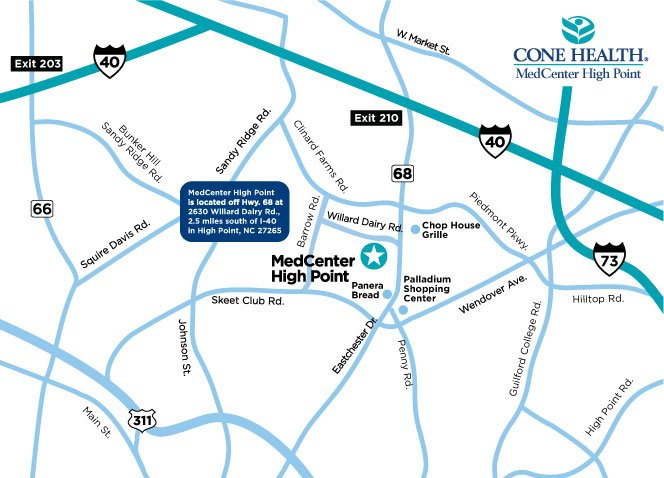 MedCenter High Point Map